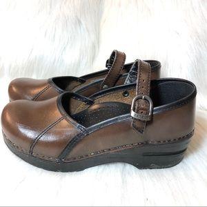 Dansko Brown Leather Mary Jane clogs